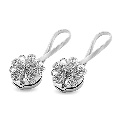 Curtain TiebacksAieve 2 Pack Magnetic TiebacksCrystal Flower Tie Backs Clip