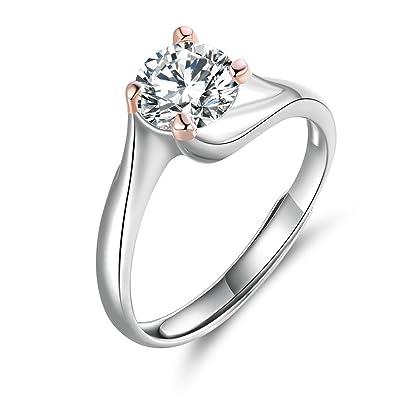 77a35358b757 JiangXin el anillo ajustable con abertura de plata 925y de platino y oro  rosa chapado similar a diamante anillo de prometer alto grado de joya para  chicas  ...