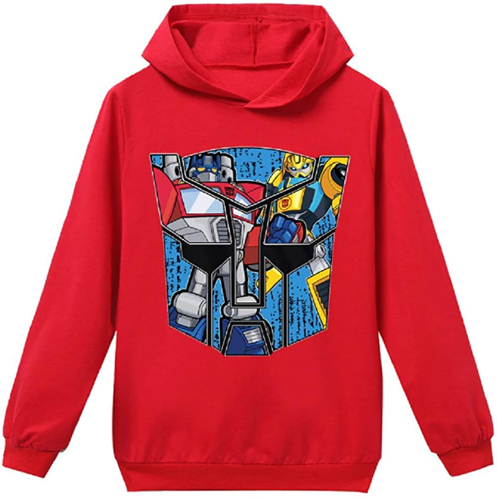 Dinosaurs Park Boys Transformers Optimus Bumblebee Cartoon Printed Hoodie