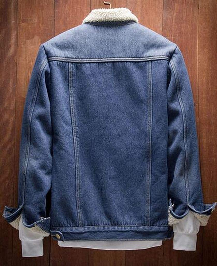 YYG Mens Thick Faux Fur Lined Winter Rugged Denim Jacket Quilted Coat Outerwear