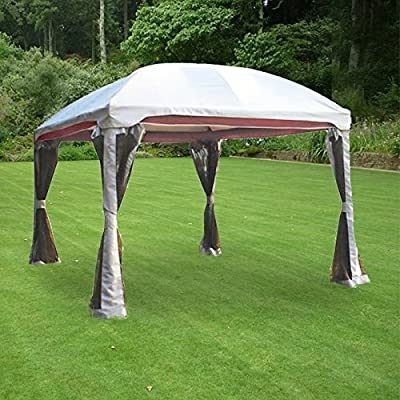 Garden Winds Replacement Canopy Top Cover and Netting for the BC Burgundy Dome Gazebo - RipLock 350 : Garden & Outdoor