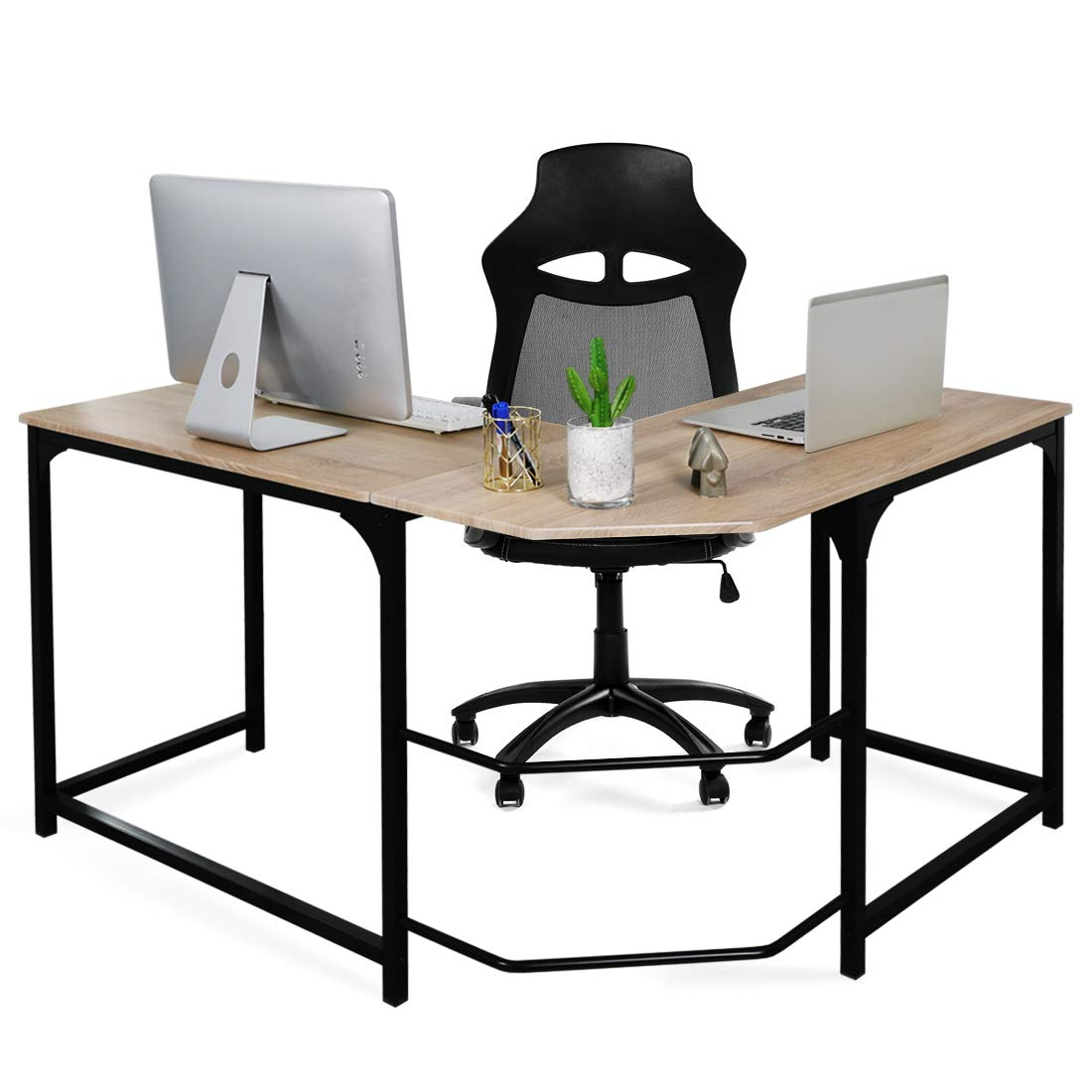 Aingoo L-Shaped Desk Large Computer Corner Desk PC Laptop Study Gaming Table Workstation for Home Office Beige
