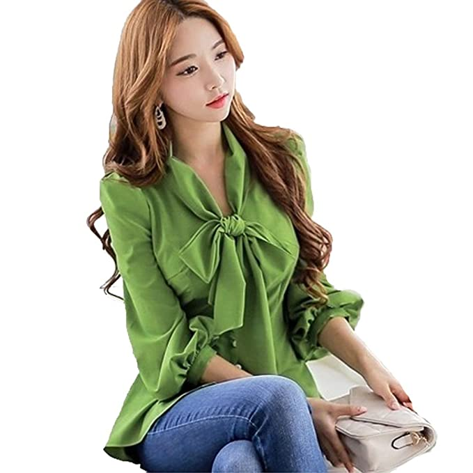 SansoiSan Womens Half Sleeve Top Casual V Neck Layered Chiffon Blouses  (Green 3d901713a