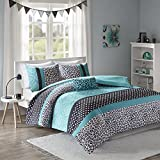 Mi-Zone Chloe Teen Girls Duvet Cover Set Full/Queen Size - Teal, Polka Dots, Damask, Leopard – 4 Piece Duvet Covers Bedding Sets – Ultra Soft Microfiber Girls Bedding Bed Sets