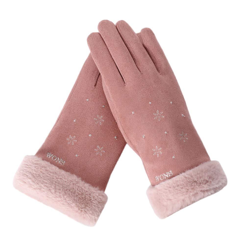 FeiBeauty Winter-Damen-Schneeflocke WONS bestickt Wildleder warme Handschuhe Outdoor-Temperament Sporthandschuhe kö nnen Touchscreen anrufen.