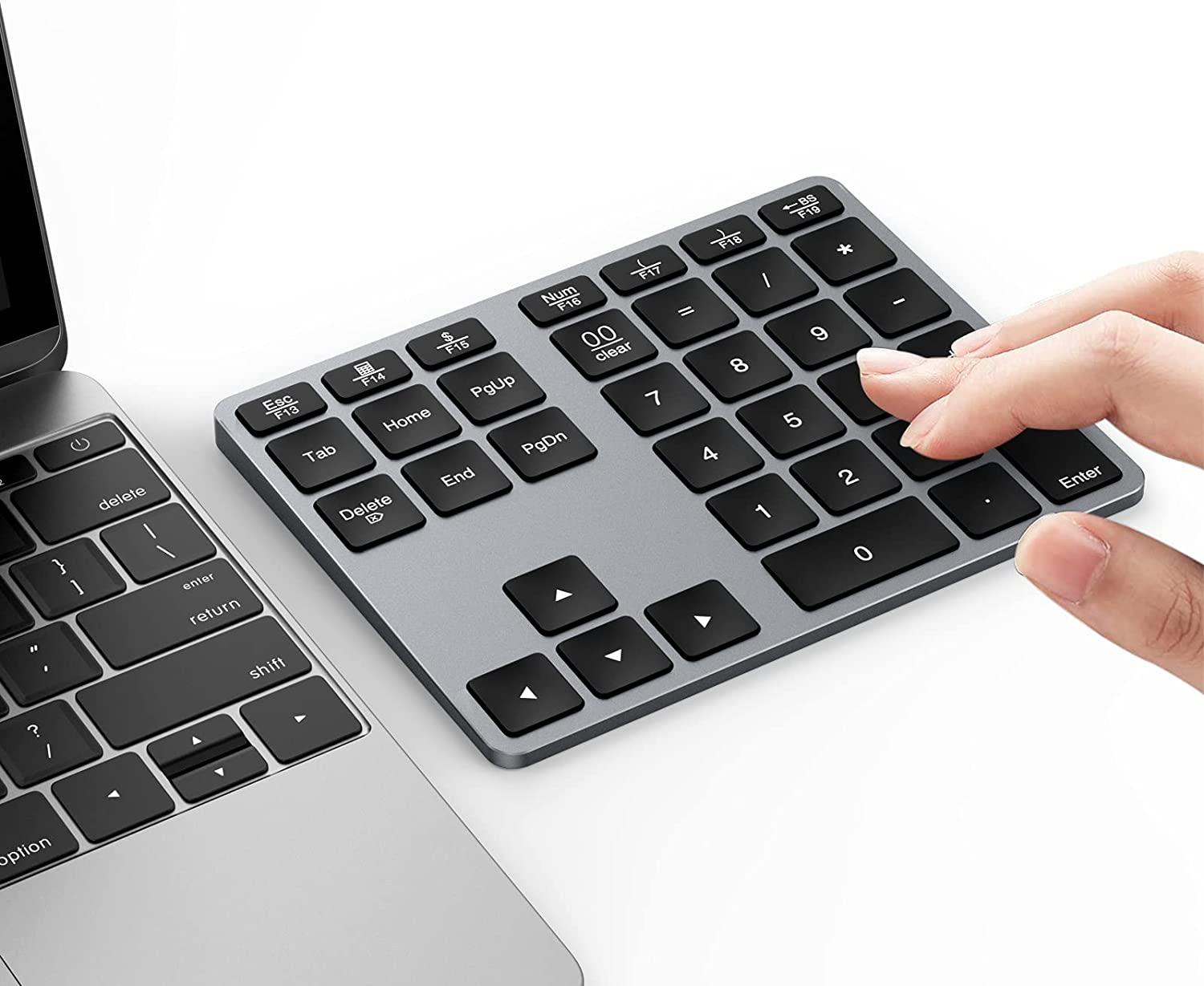 Wireless Bluetooth Number Pad for Laptop, Rechargeable Numeric Keypad 35-Keys Aluminum, Latest Slim External Numpad Keyboard for Mac Os/iOS/Windows/Android/MacBook Air/Pro/iMac/Surface Pro, etc