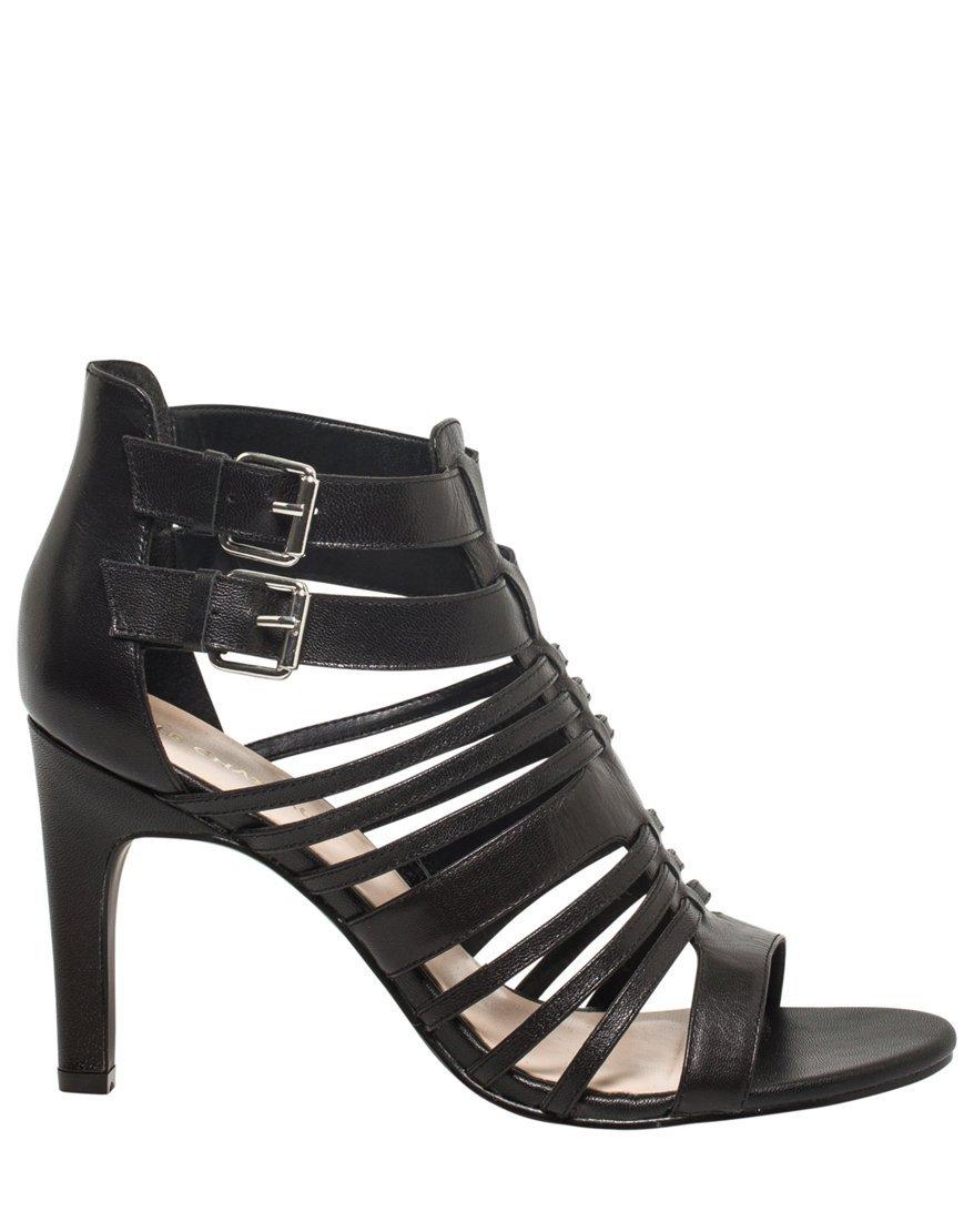 LE CHÂTEAU Women's Leather Gladiator Sandal,6,Black