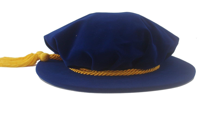 Blue Velvet Tudor Beefeater Style Gold Tassel Bonnet - DeluxeAdultCostumes.com