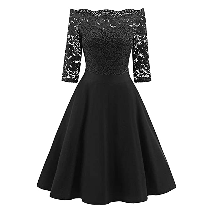 Bohemise Lace Fabric Shoulder Retro Swing Elegant Solid Red Midi Party Dress Vestidos Black S