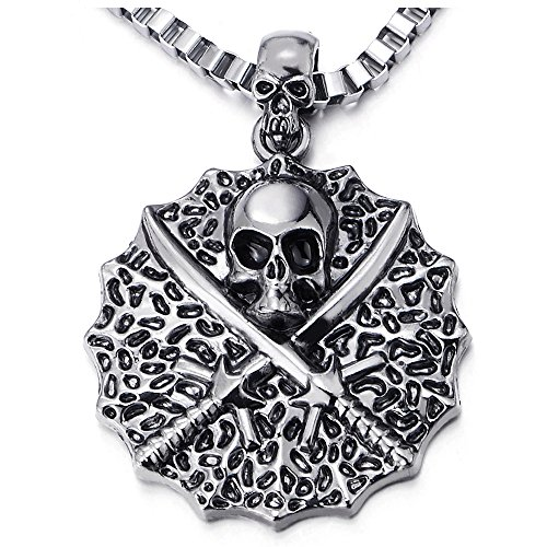 COOLSTEELANDBEYOND Vintage Circle Swords Pirate Skull Pendant Necklace for Men, 22.4 inches Box Chain, Gothic Biker