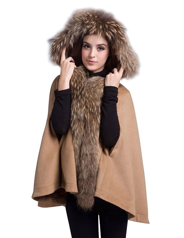 Manteau femme capuche vrai fourrure