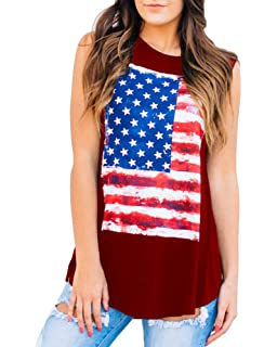 9de69e870d7d0 Imily Bela Womens Camo Racerback American Flag Tank Top Loose Summer  Workout Tops