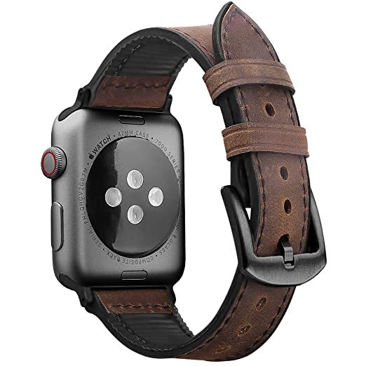 Oitom Leather Silicone Sports Band Compatible with Apple Watch 42mm 44mm, Hybrid Sweatproof Replacement Straps Compatible with iWatch Series 4 3 2 1 ...