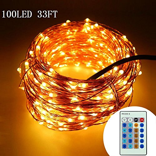 Copper Twist (Copper String Lights by Tooge,Three Copper Twist, Low Power Adapter,UL and Amazon Quality Gurantee(Warm White) (33FT with Controller))