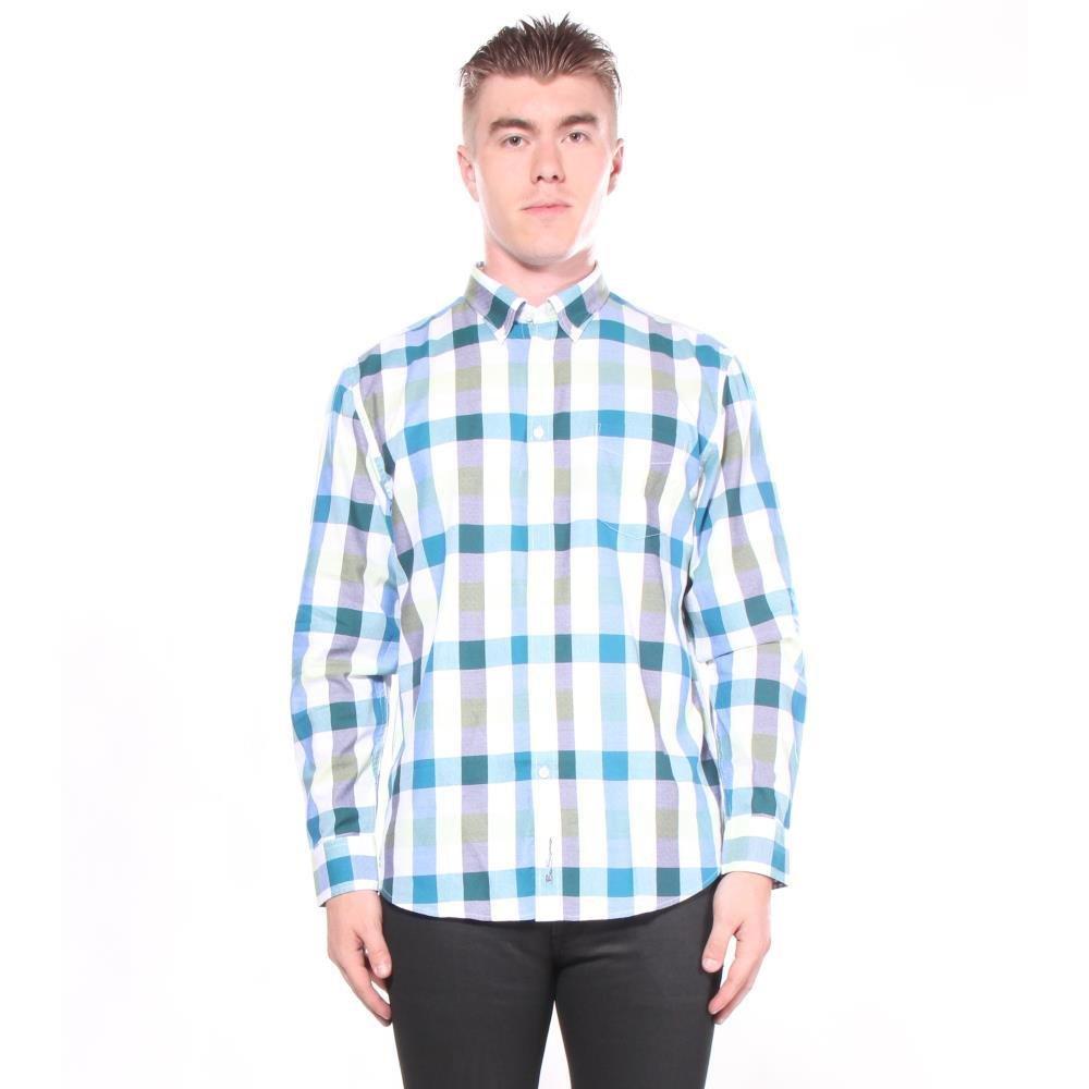 Ben Sherman Men's Long Sleeve Buffalo Check Shirt Light Blue Medium