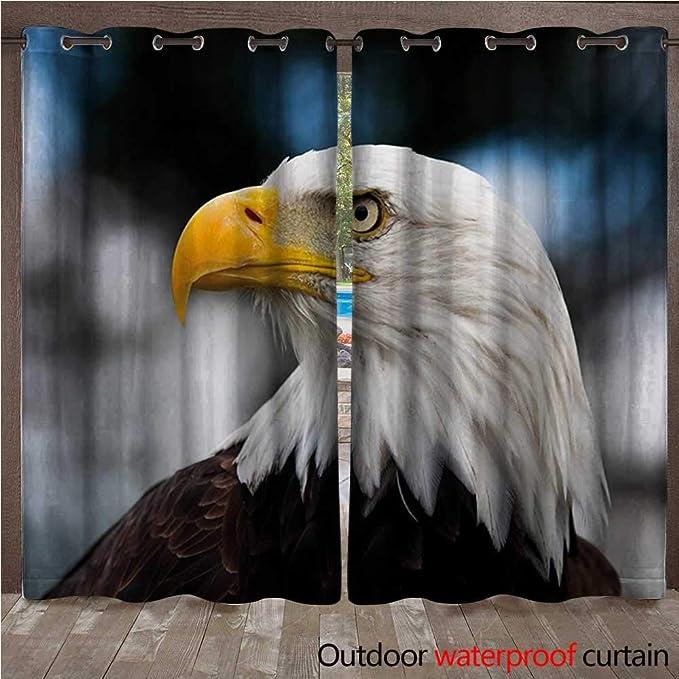BlountDecor Cortina Superior con Ojales de águila y Gran pájaro Volando por Encima del mar en el Cielo Estrellado, temática de la Libertad ImageW108 x L96: Amazon.es: Jardín