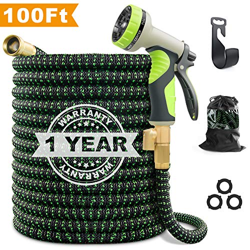 VIENECI 100ft Garden Hose Upgraded Expandable Hose, Durable Flexible Water Hose, 9 Function Spray Hose Nozzle, 3/4″ Solid Brass Connectors, Extra Strength Fabric, Lightweight Expanding Hose