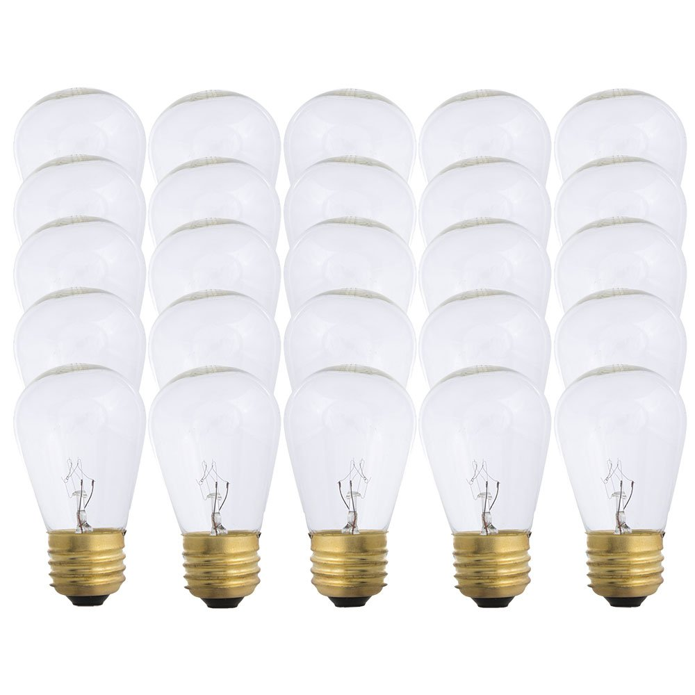 Warm White S14-11w Bulb - Patio string light replacement Bulb - 25 Bulbs
