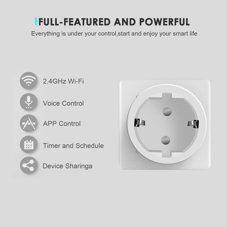 Prise Connect/ée,Prise Intelligente Wi-FI,Prise de Courant Compacte Contr/ôle par APP Gratuite ou Votre Voix 4 Packs Compatible avec Alexa Google Home IFTTT Prise Mini avec fonction minuterie