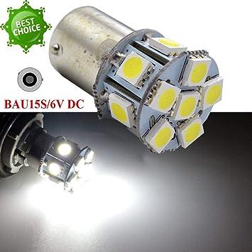 2 bombillas BAU15S 1156PYDC 6 V Super Bright Blanco 5050 12SMD Chipsets LED de repuesto para