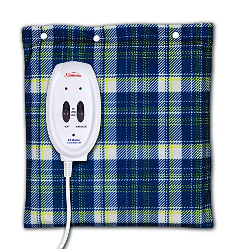 Sunbeam Flexi-Soft Massaging Heating Pad, 2 Heat/Massage Settings, 1-Hour Auto-Off, 12