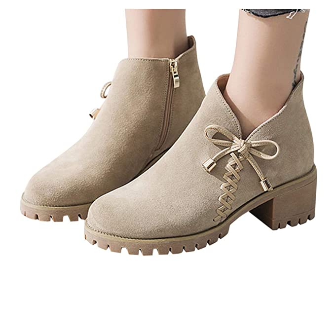 hot sales many styles online for sale Berimaterry Botines Mujer Tacon Ancho Ante Cuero Tobillo ...