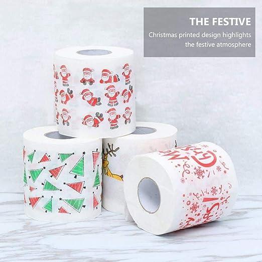 EXCEART 5 Rollen Frohe Weihnachten Toilettenpapier Holz Zellstoff Taschentuch Serviette Sammlerhandrolle Handtuch Streich Spa/ß Neuheit Knebel Geschenk f/ür Weihnachten Strumpf Stuffers