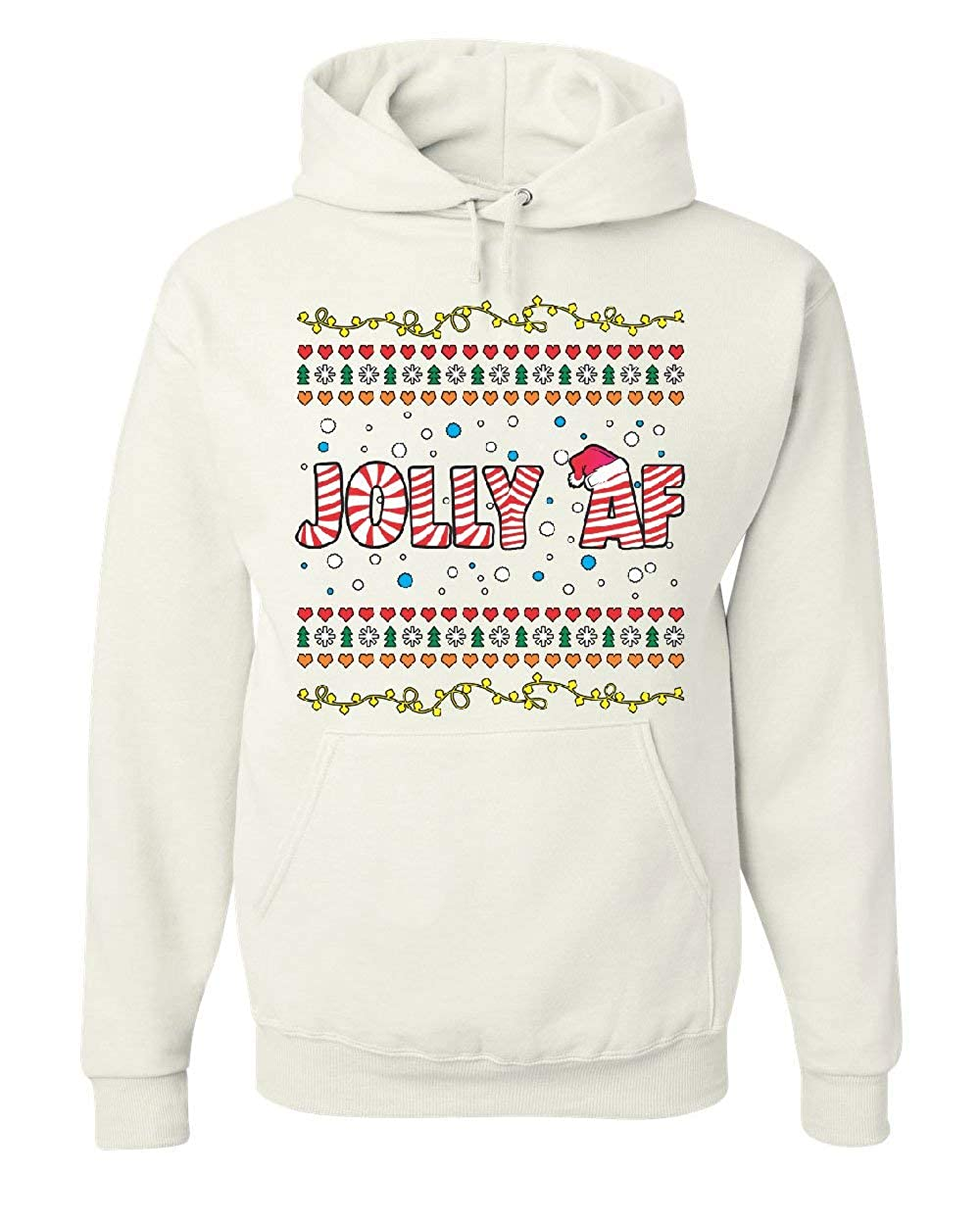 Jolly AF Hoodie Funny Christmas Eve Holiday Spirit Xmas Santa Sweatshirt