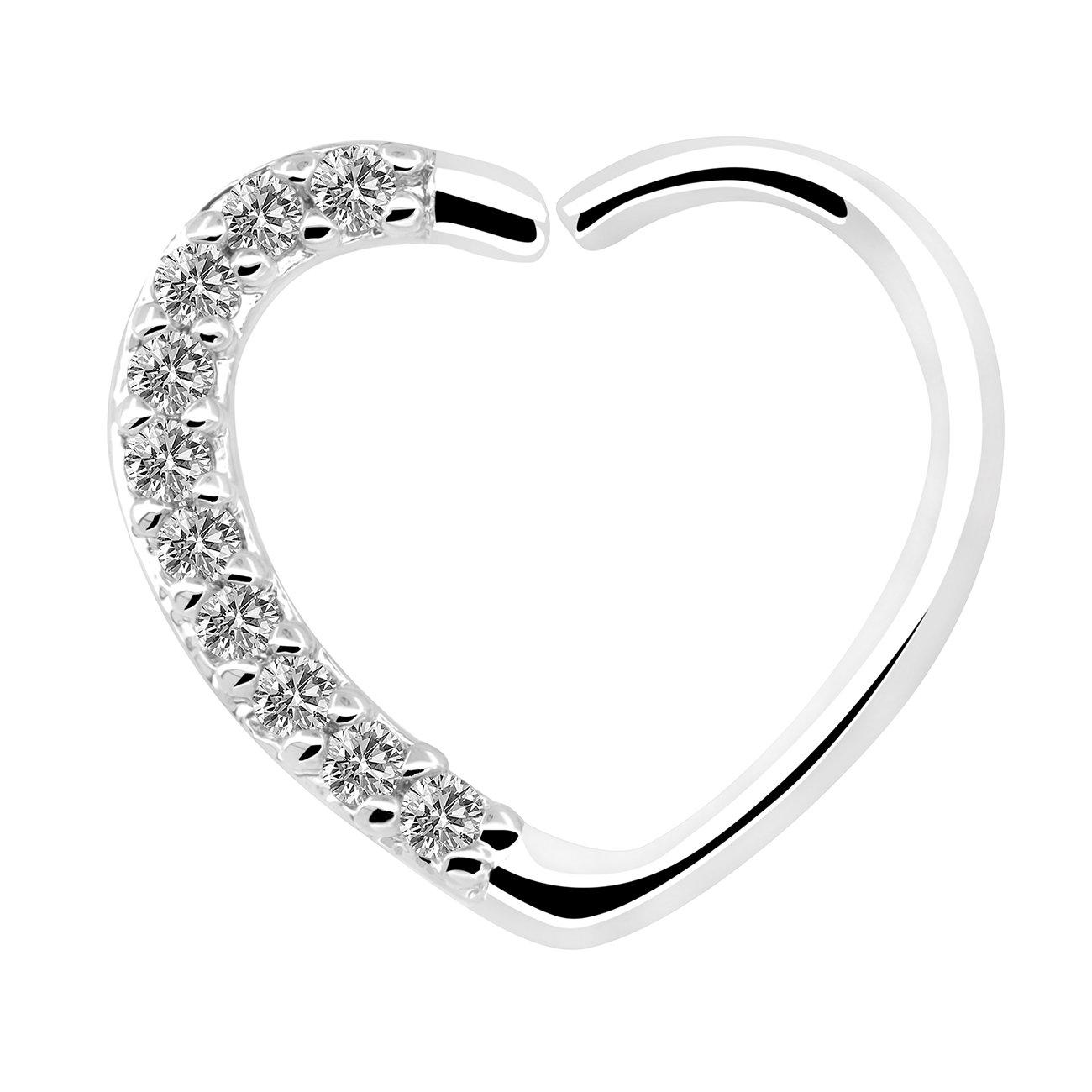 OUFER Body Jewelry 16 Gauge 18Kt Oro Blanco Chapado Claro CZ En forma de corazón Cierre
