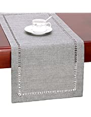GRELUCGO Handmade Hemstitch Gray Dining Table Runner Or Dresser Scarf, Rectangular 14 by 60 Inch