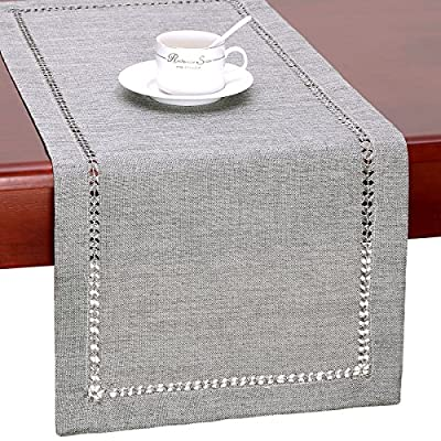 GRELUCGO Handmade Hemstitch Gray Dining Table Runner Or Dresser Scarf, Rectangular 14 by 36 Inch - Simple design but looks very delicate 100% hand-hemstitch instead of machine-hemstitch Can be customized to table runner, placemats, napkins, tablecloth of any size; matching cushion covers also available - table-runners, kitchen-dining-room-table-linens, kitchen-dining-room - 61gMW q099L. SS400  -