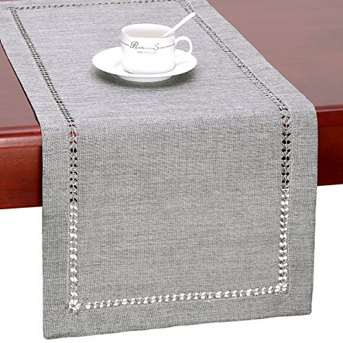 Cloth Table Runner - Grelucgo Handmade Hemstitch Gray Dining Table Runner Or Dresser Scarf, Rectangular 14 by 36 Inch