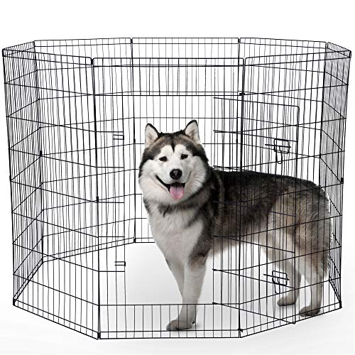 Dog Exercise Pen Pet Playpens for Medium Dogs - Puppy Playpen Outdoor Back or Front Yard Fence Cage Fencing Doggie Rabbit Cats Playpens Outside Fences with Door - 30 Inch Metal Wire 8-Panel Foldable - Eight Panel Wire Pen