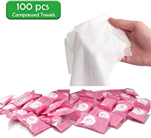 Compressed Towels, FreshLife Compressed Towel Tablets, Compressed Towels Travel, Towel Napkin Tissue, Soft Compressed Wipe, Portable Compressed Coin Tissue for Travel/Home/Outdoor Activities (100 Pcs)