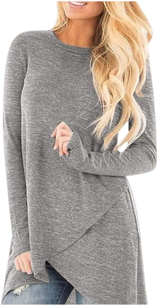 Chunky Sweater for Women Turtleneck Tops Asymmetric Hem Zipper Cowl Neck Fleece Pullover Women