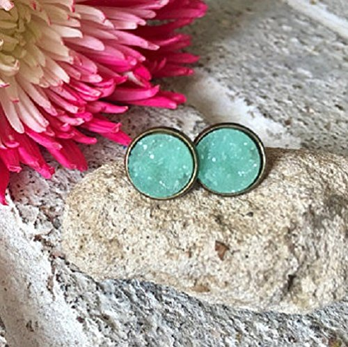 Gold Mint Acrylics (Mint Green Druzy Studs, 12mm green druzy gold, green earrings, druzy earrings, green druzy, druzy jewelry, mermaid jewelry mermaid earring)