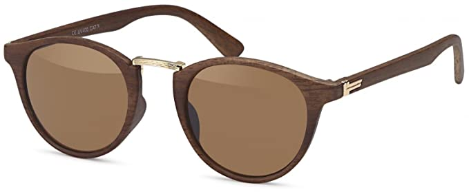 styleBREAKER Gafas de sol en óptica de madera y lentes redondas, montura de plástico y