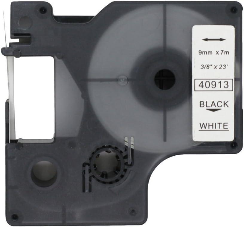 Fassport Nastro adesivo nero su trasparente 9 mm Nero su trasparente. compatibile con DYMO D1 40910