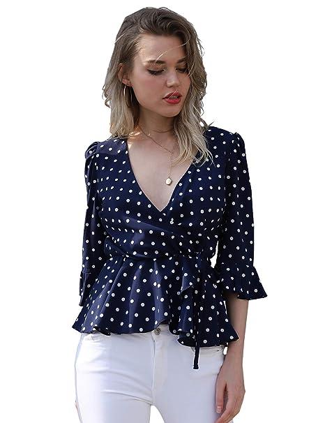 bffc798de74 Blooming Jelly Women s Flattering Short Sleeve V Neck Shirt Surplice Polka  Dot Tie Top Peplum Wrap