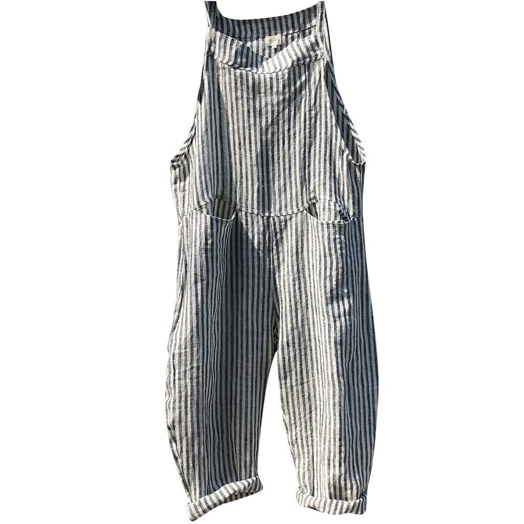 Women Long Stripe Jumsuits Linen Casual Loose Sleeveless Bandage Playsuit Romper with Pockets Daorokanduhp
