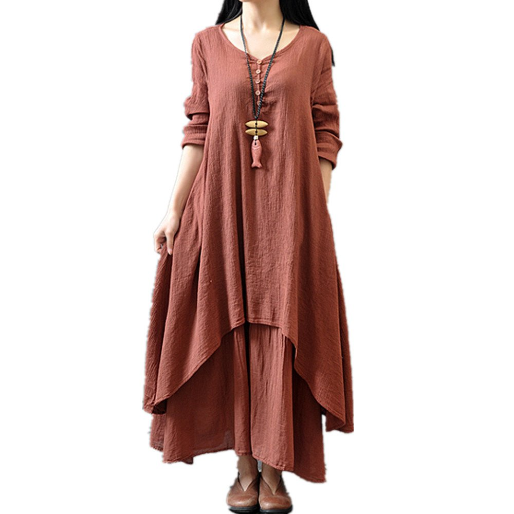 Realdo Womens Solid Boho Dress, Casual Loose Long Sleeve Cotton Linen Long Dress Party Maxi Dress(Brown,Medium)