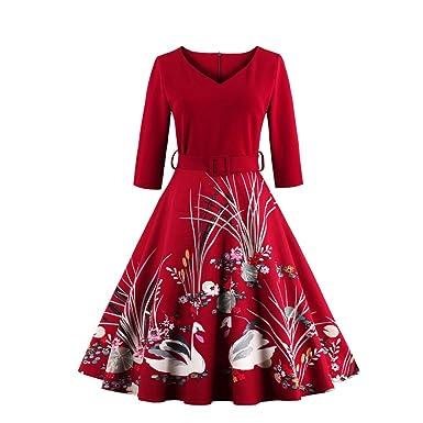 3a9c9dfdc990ec MisShow Damen Elegant Vintage 50er Jahre Kleid Rockabilly Ballkleid  Cocktailkleid mit Schwan Knielang S~4XL: Amazon.de: Bekleidung