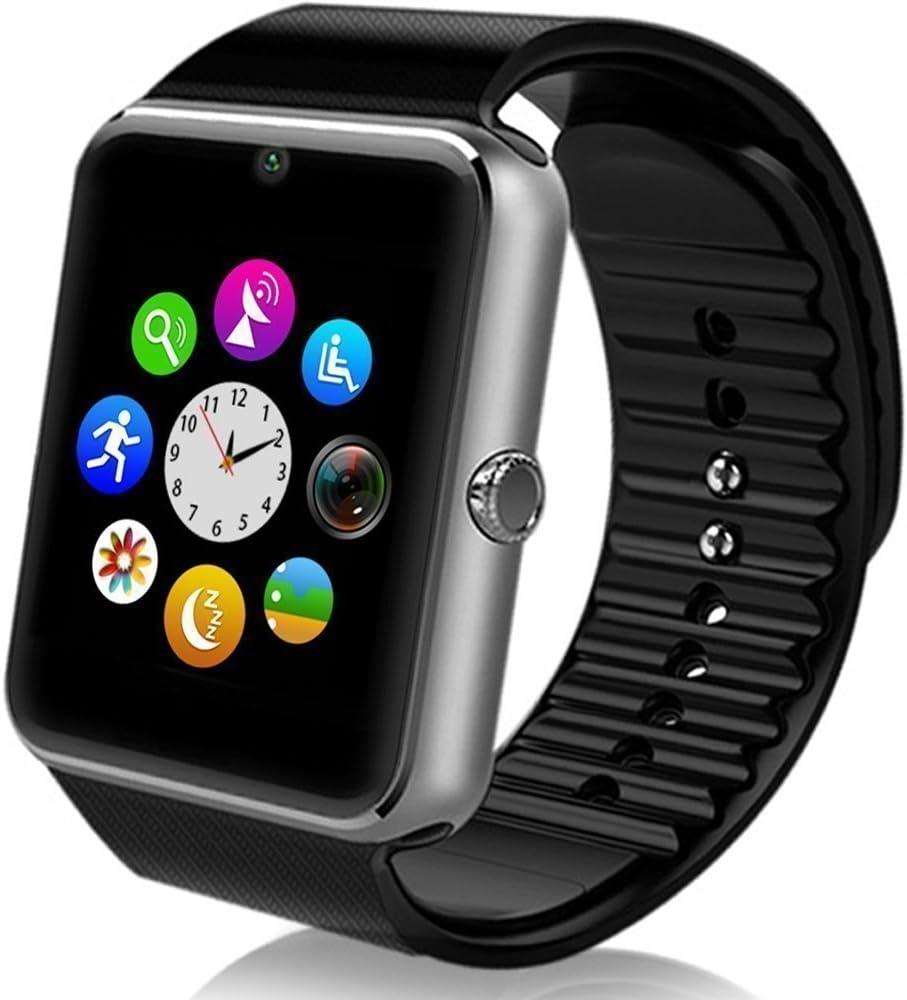 MallTEK Android Smartwatch Bluetooth con Slot per Scheda SIM / TF, Smart Watch 1.54 Pollici, Braccialetto Sportivo con Fotocamera, Funzione Pedometro, Sonno Monitor, Telecamera Remota ecc, Orologio Intelligente per Huawei, Doogee, Samsung, Lenovo, Sony, HTC e altro Smartphone Android (Argento)