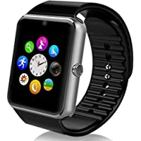 Maegoo Smartwatch Bluetooth, Smartwatch 1.54'' with SIM Card and Memory Card Slot Smartwatch Band with Camera Facebook Wechat Pedometer Sleeping Monitor Smart Watch for Android Mobile Phone (Silver)
