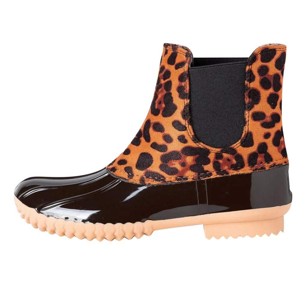 Kauneus Leopard Rain Boots Womens Fashion Low Heel Round Toe Waterproof Booties Wear Wesistant Shoes Short Boot Yellow by Kauneus Fashion Shoes
