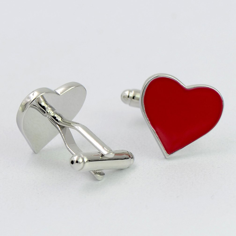 ENVIDIA Red Heart-Shaped Valentine Love Cufflinks Wedding Party Gifts With Box by ENVIDIA (Image #5)