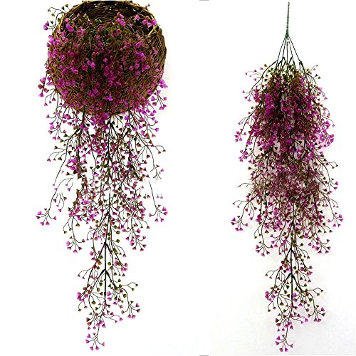 SENREAL Artificial Fake Garland Hanging Vine Leaves Plants Decor for Garden Plastic Greenery Garland Flowers for Home Wall (Purple-red)