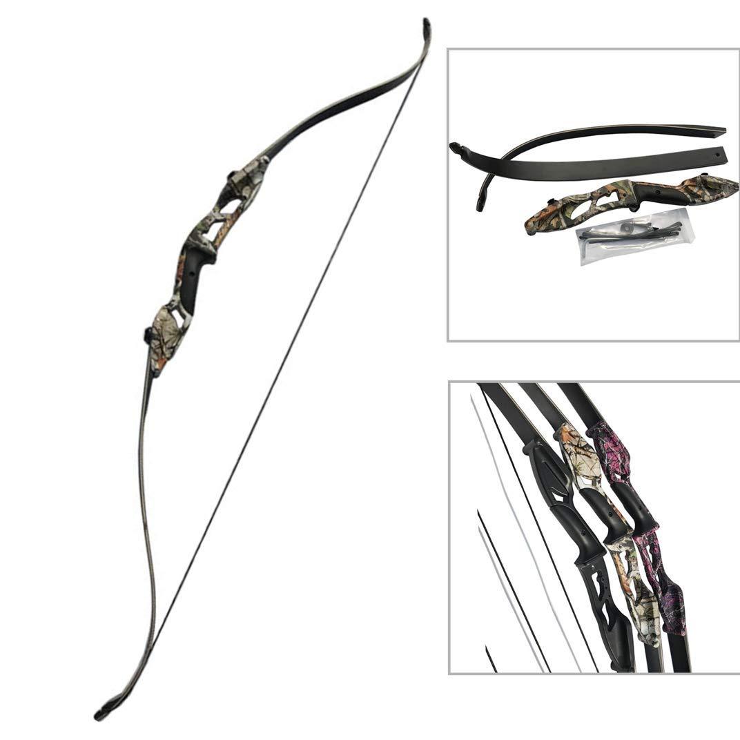 MILAEM 56インチ 30~50LBSリカーブボウ 狩猟弓 初心者なリカーブボウ 伝統的な弓 木製 アーチェリーアクセサリー 狩猟 練習 ハンティング 迷彩 50lbs