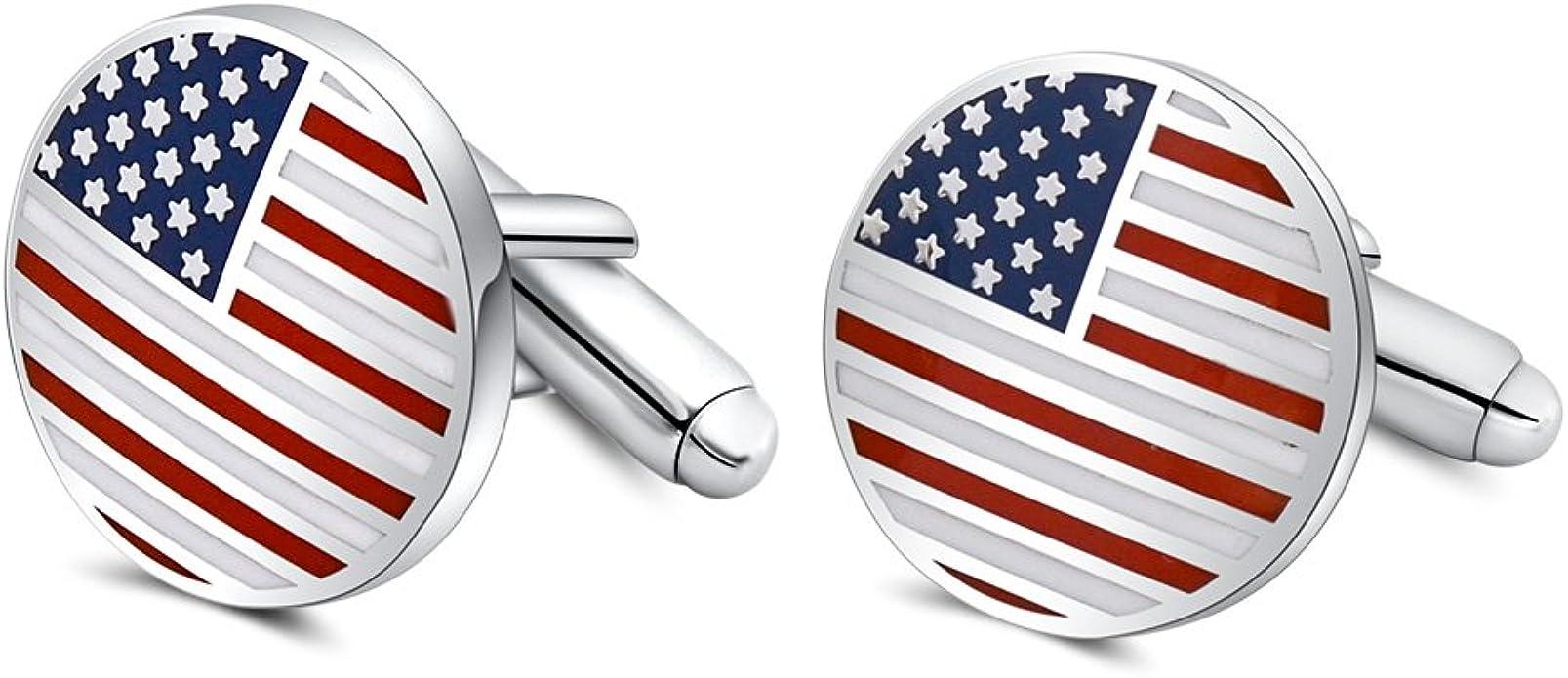 Bandera de Estados Unidos Gemelos, MR. Van Hombre Bandera de knopfe Azul Rojo White manguito para Hombres Camisa Traje Verlobung: Amazon.es: Joyería
