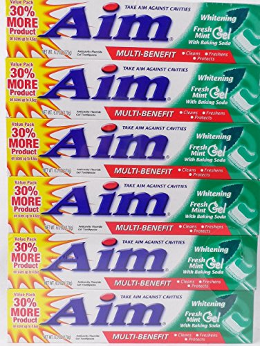 Aim Toothpaste 6 oz Tube (pack of 6) Fresh Mint gel ()